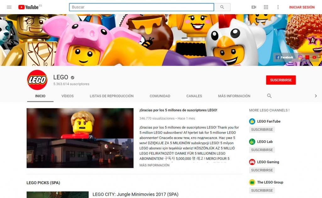 marketing contenidos youtube lego